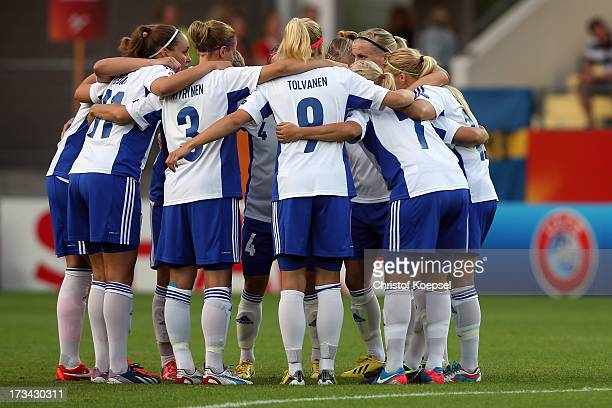 The team of Finland comes together during the UEFA Women's EURO 2013 Group A match between Finland and Sweden at Gamla Ullevi Stadium on July 13 2013...