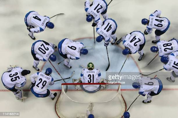 The team of Finland lines pu prior to the IIHF World Championship semi final match between Finland and Russia at Orange Arena on May 13 2011 in...