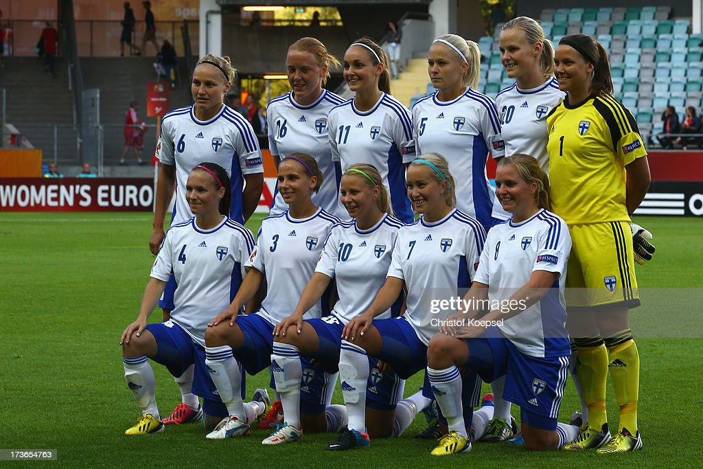 The team of Finland poses prior to the UEFA Women's EURO 2013 Group A match between Denmark and Finland at Gamla Ullevi Stadium on July 16, 2013 in Gothenburg, Sweden.