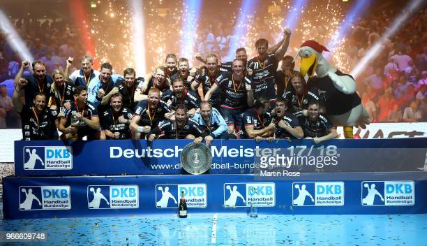 The team of FlensburgHandewitt celebrate the german championship after the DKB HBL Bundesliga match between SG FlensburgHandewitt and FRISCH AUF...