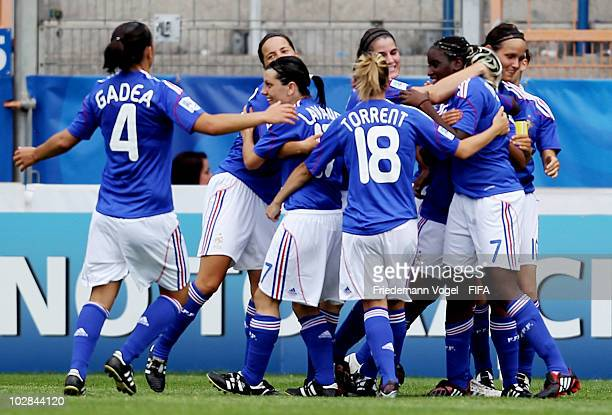 The team of France celebrates after scoring their team's first goal during the FIFA U20 Women's World Cup Group A match between Colombia and France...