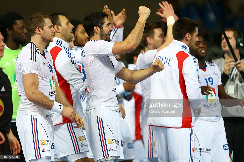 The team of France celebrates the 30-28 victory aftrer the round of sixteen match between Iceland and France at Palau Sant Jordi on January 20, 2013 in Barcelona, Spain.
