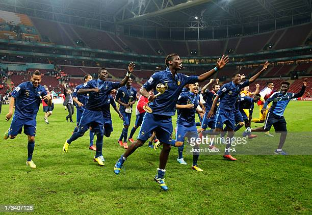 The team of France celebrates with the cup after winning the FIFA U-20 World Cup Final match between France and Uruguay at Ali Sami Yen Arena on July...