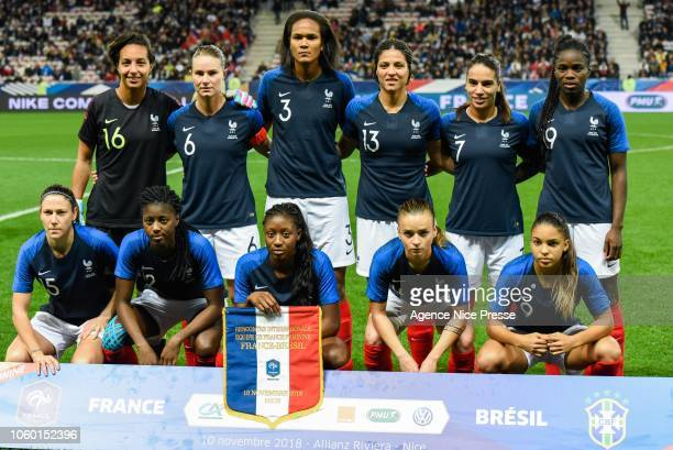 The team of France during the International Women match between France and Brazil at Allianz Riviera Stadium on November 10 2018 in Nice France