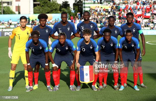 The team of France line up before the FIFA U17 World Cup Brazil 2019 Group C match between France and Chile at Estadio da Serrinha on October 27 2019...
