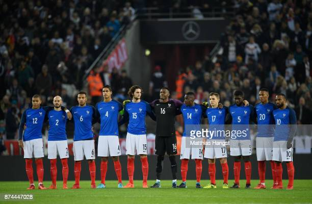 The team of France take part in a minute of silence for Hans Schaefer prior to the International friendly match between Germany and France at...