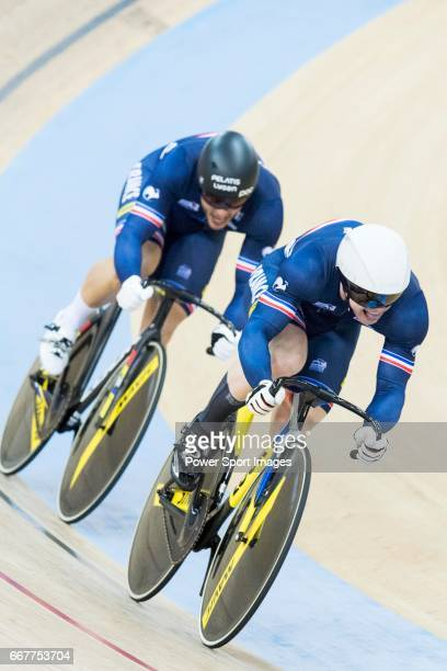 The team of France with Benjamin Edelin Quentin Lafargue and Sebastien Vigier compete in Men's Team Sprint Finals match during day one of the 2017...