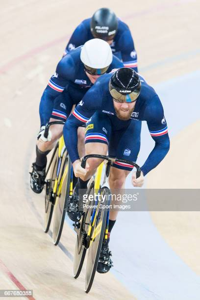 The team of France with Benjamin Edelin Sebastien Vigier and Quentin Lafargue compete in Men's Team Sprint Qualifying match during day one of the...