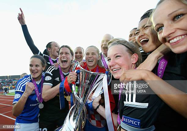 The team of Frankfurt celebrate after winning the UEFA Women's Champions League final match between 1 FFC Frankfurt and Paris St Germain at...