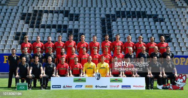 The team of German first division Bundesliga football team SC Freiburg poses during its official presentation for the 20182019 season in Freiburg...