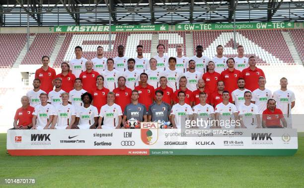 The team of German first division Bundesliga team FC Augsburg 1907 first row technical assistant Zdenek Vidrman Austrian midfielder Georg Teigl...