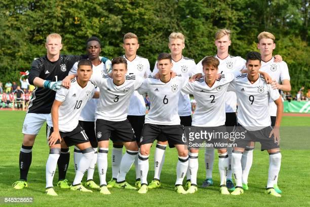 The team of Germany back row LR goalkeeper Lino Kasten MatondoMerveille Papela Alexander Kopf Jonas Pfalz Niclas Knoop Ole Pohlmann front row lr Can...