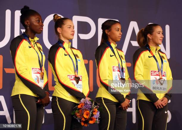 The team of Germany bronze pose with their medals for the Women's 4x100 metres Relay during day six of the 24th European Athletics Championships at...