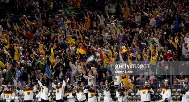 The team of Germany celebrate the 2nd goal during the 2017 IIHF Ice Hockey World Championship game between Denmark and Germany at Lanxess Arena on...