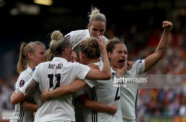 The team of Germany celebrate the opening goal during the Group B match between Germany and Italy during the UEFA Women's Euro 2017 at Koning Willem...