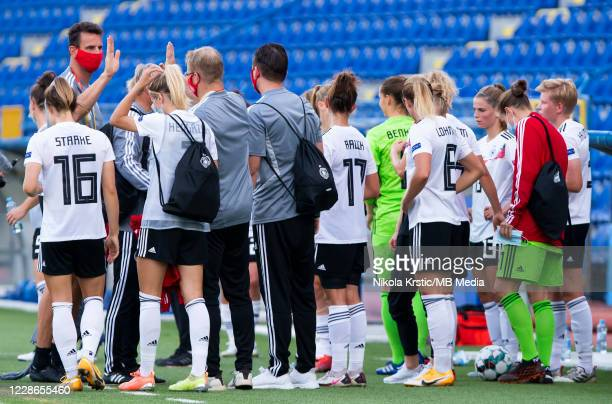 The team of Germany celebrate the victory during the UEFA Women's EURO 2022 Qualifier match between Montenegro and Germany at Pod Goricom on...