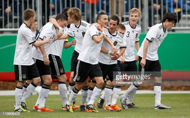 The team of Germany celebrates after scoring the second goal during the UEFA U17 European Championship Elite Round match between Germany and Ukraine...