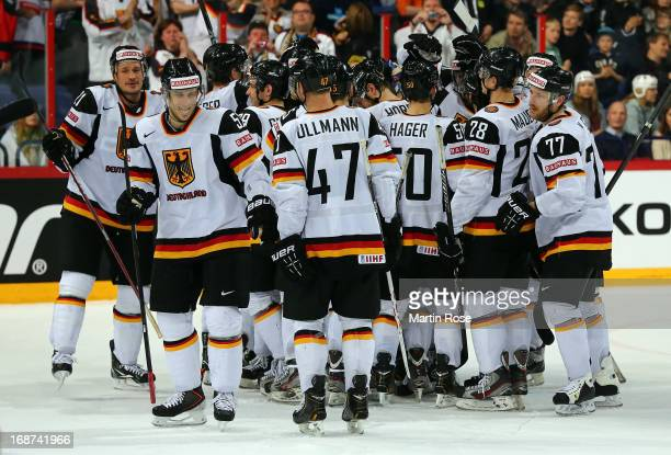 The team of Germany celebrates after the IIHF World Championship group H match between France and Germany at Hartwall Areena on May 14 2013 in...