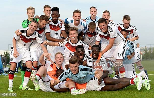 The team of Germany celebrates after the international friendly match between U18 Germany and U18 Turkey on November 17 2014 in Side Turkey