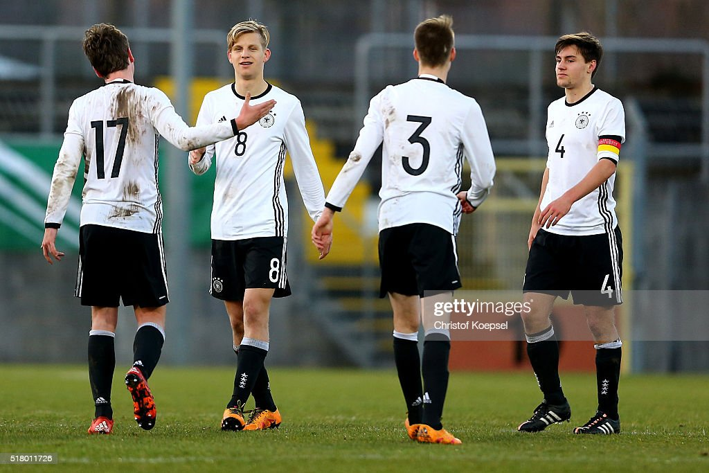 The team of Germany celebrates after winning 1-0 the U17 Euro Qualification match between Germany and Netherlands at Paul Janes Stadium on March 29, 2016 at Esprit-Arena in Duesseldorf, Germany.The match between Germany and the Netherlands ended 1-0 and Germany qualified for the U17 Euros.