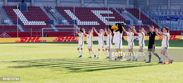 The team of Germany celebrates after winning the 2019 FIFA Womens World Championship Qualifier match between Germany Womens and Czech Republic Womens...