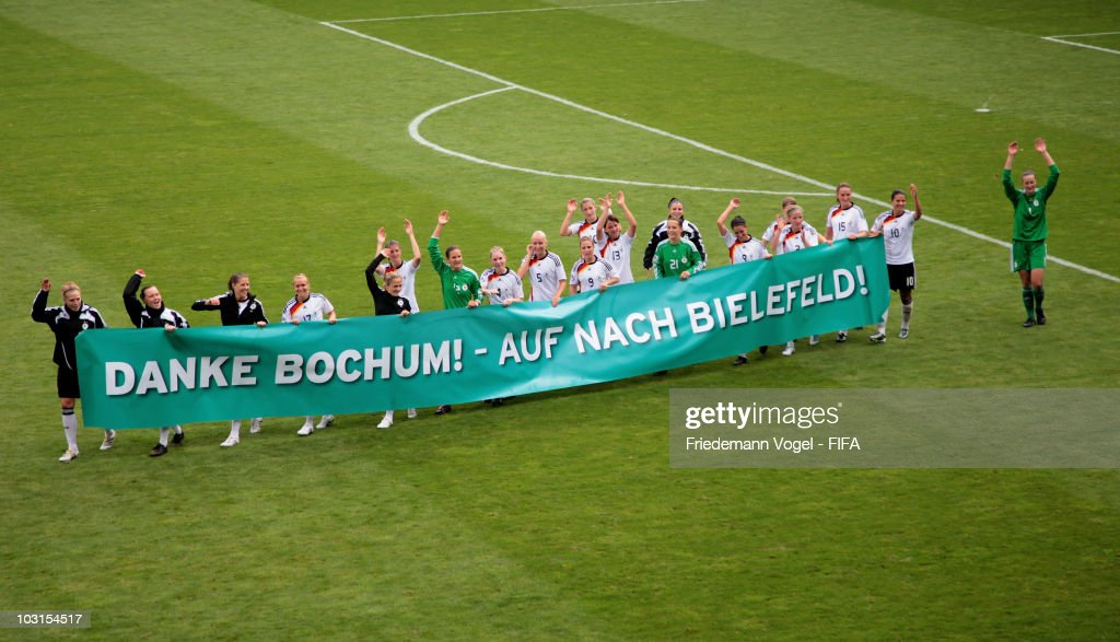 The team of Germany celebrates after winning the FIFA U20 Women's World Cup Semi Final match between Germany and South Korea at the FIFA U-20 Women's World Cup stadium on July 29, 2010 in Bochum, Germany.