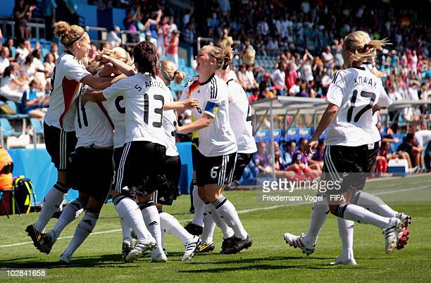 The team of Germany celebrates scoring the first goal during the FIFA U20 Women's World Cup Group A match between Germany and Costa Rica at the FIFA...