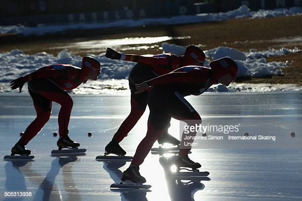 The team of Germany competes in the women team pursuit during day 1 of ISU speed skating junior world cup at ice rink Pine stadium on January 16 2016...