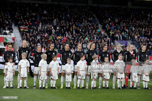 The team of Germany during the national anthem prior to the Women's International Friendly match between Germany and Italy at Stadion an der Bremer...