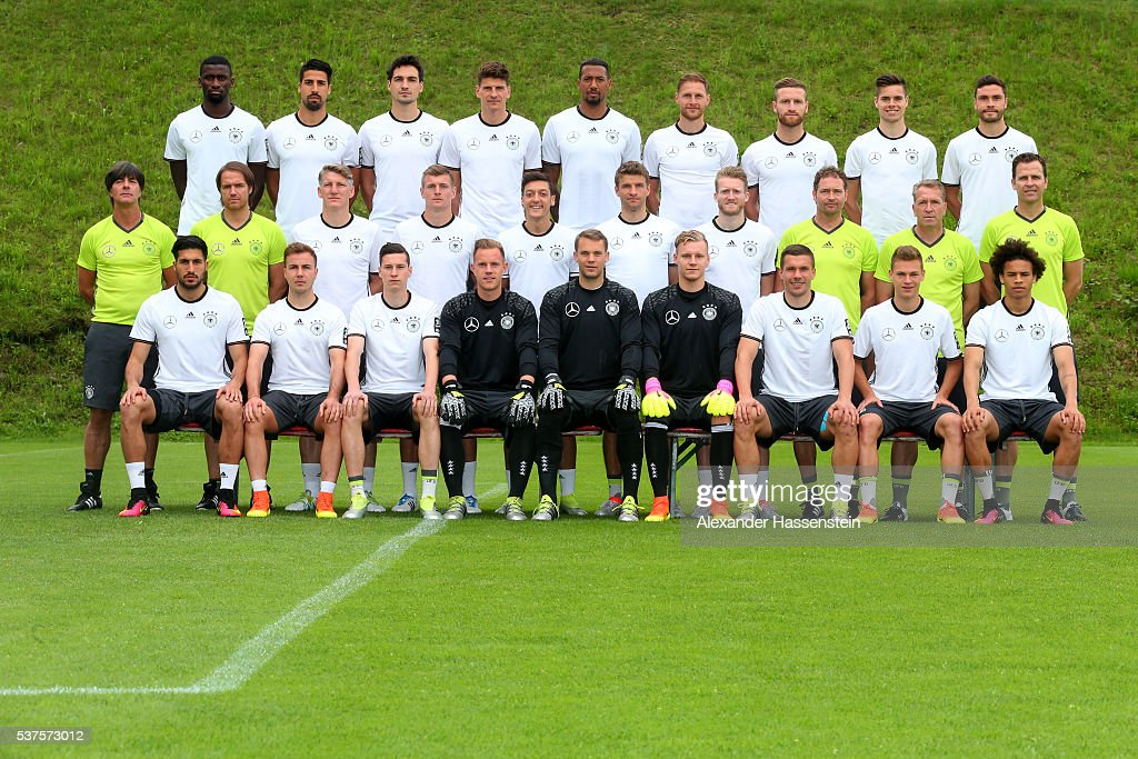 The team of Germany (first row L-R) Emre Can, Mario Goetze, Julian Draxler, Marc-Andre Ter-Stegen, Manuel Neuer, Bernd Leno, Lukas Podolski, Joshua Kimmich, Leroy Sane, (middle row L-R) head coach Joachim Loew, assistant coach Thomas Schneider, Bastian Schweinsteiger, Toni Kroos, Mesut Oezil, Thomas Mueller, Andre Schuerrle, assistant coach Marcus Sorg, goal keeping coach Andreas Koepke, team manager Oliver Bierhoff, (back row L-R) Antonio Ruediger, Sami Khedira, Mats Hummels, Mario Gomez, Jerome Boateng, Benedikt Hoewedes, Shkodran Mustafi, Julian Weigl, Jonas Hector pose during the presentation of Germany's team for the UEFA 2016 European Championship in France on June 2, 2016 in Ascona, Switzerland.