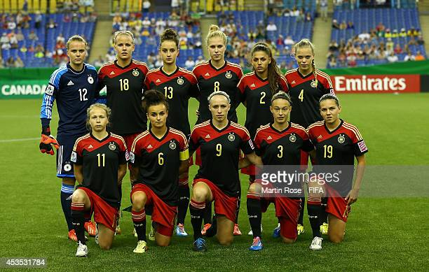 The team of Germany line up before the FIFA U20 Women's World Cup 2014 group B match between Brazil and Germany at Olympic Stadium on August 12 2014...