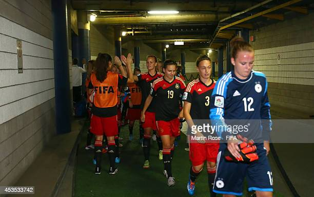The team of Germany line up in the players tunnel before the FIFA U20 Women's World Cup 2014 group B match between Brazil and Germany at Olympic...