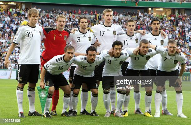 The team of Germany line up prior to the international friendly match between Germany and Bosnia-Herzegovina at the Commerzbank Arena on June 3, 2010...