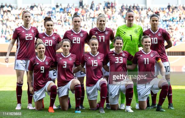 The team of Germany line up prior to the Women's International Friendly match between Germany and Japan at Benteler Arena on April 09 2019 in...