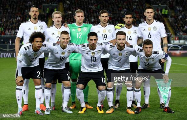 The team of Germany lines up before the FIFA 2018 World Cup Qualifier between Germany and Azerbaijan at FritzWalterStadion on October 8 2017 in...