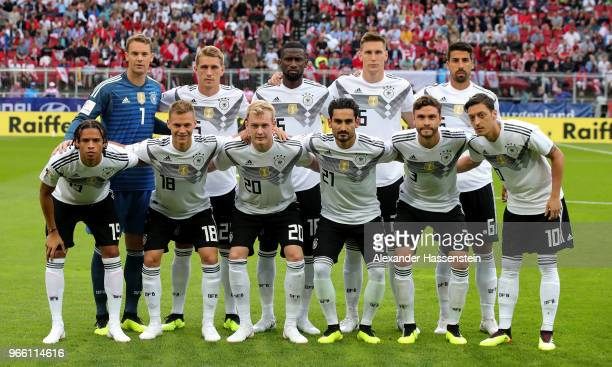 The team of Germany lines up before the International Friendly match between Austria and Germany at Woerthersee Stadion on June 2 2018 in Klagenfurt...