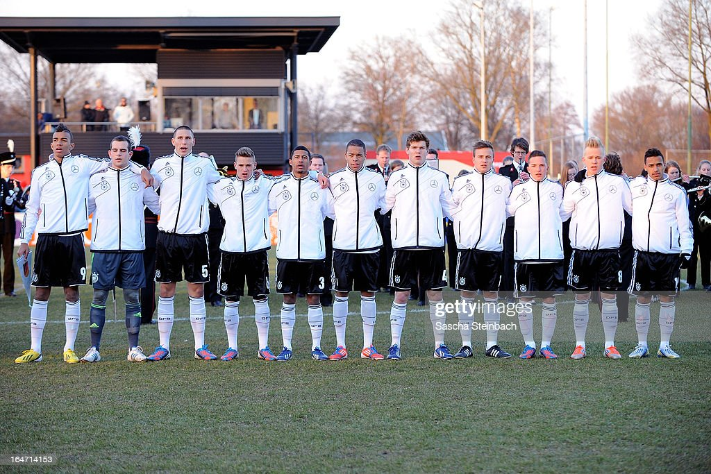 The team of Germany lines up before the start of the U18 International Friendly match between The Netherlands and Germany on March 26, 2013 in Vriezenveen, Netherlands.