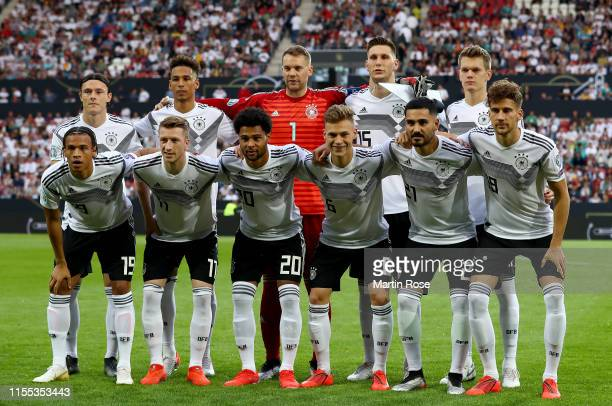 The team of Germany lines up before the UEFA Euro 2020 Qualifier match between Germany and Estonia at Opel Arena on June 11 2019 in Mainz Germany