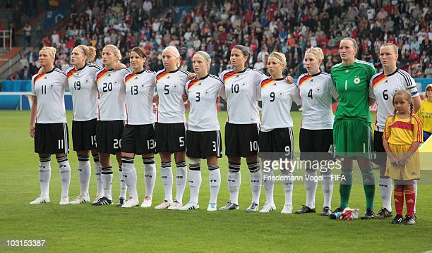 The team of Germany lines up during the FIFA U20 Women's World Cup Semi Final match between Germany and South Korea at the FIFA U20 Women's World Cup...