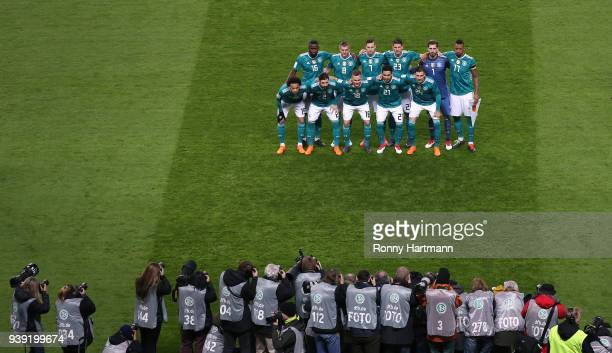 The team of Germany lines up prior to the International friendly match between Germany and Brazil at Olympiastadion on March 27 2018 in Berlin Germany
