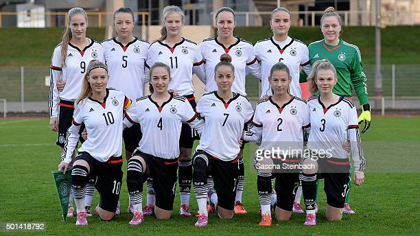 The team of Germany lines up prior to the U17 girl's international friendly match between Germany and England on December 15 2015 in Duesseldorf...