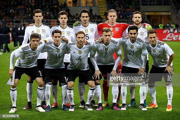 The team of Germany lines up priot to the International Friendly Match between Italy and Germany at Giuseppe Meazza Stadium on November 15 2016 in...