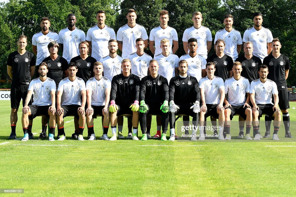 Marvin Plattenhardt, Lars Stindl, Timo Werner, Bernd Leno, Marc-Andre ter Stegen, Kevin Trapp, Sebastian Rudy, Joshua Kimmich, Amin Younes, (middle row L-R) team manager Oliver Bierhoff, head coach Joachim Loew, assistant coach Thomas Schneider, Shkodran Mustafi, Julian Draxler, Julian Brandt, Benjamin Henrichs, assistant coach Marcus Sorg, goal keeping coach Andreas Koepke, team assistant Miroslav Klose, (back row L-R) Kerem Demirbay, Antonio Ruediger, Sandro Wagner, Niklas Suele, Leon Goretzka, Matthias Ginter, Jonas Hector and Emre Can pose during the presentation of Germany's team for the FIFA 2017 Confederations Cup in Russia on June 13, 2017 in Kelsterbach, Germany.