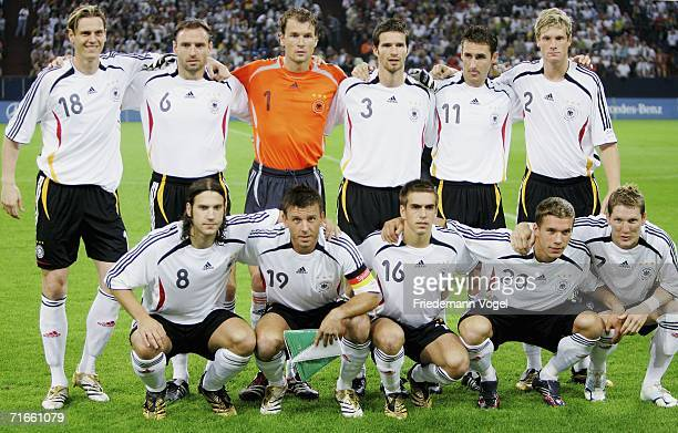 The team of Germany pose before the friendly match between Germany and Sweden at the Arena Auf Schalke on August 16, 2006 in Gelsenkirchen, Germany.