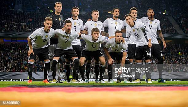The team of Germany pose prior to the FIFA World Cup 2018 qualifying match between Germany and Czech Republic at Volksparkstadion on October 8 2016...