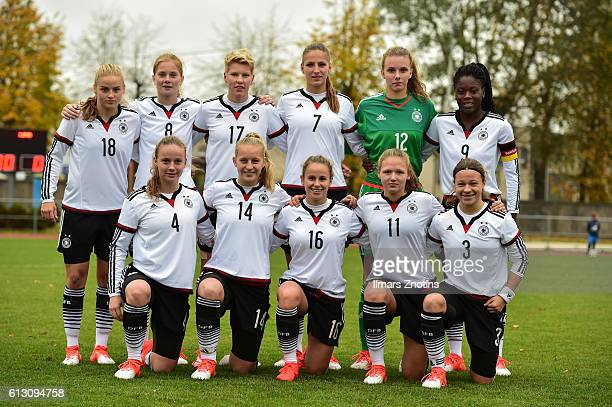 The team of Germany pose prior to the UEFA Under17 Girl's Euro Qualifier between U17 Girl's Turkey and U17 Girl's Germany at Pilsetas Stadium on...