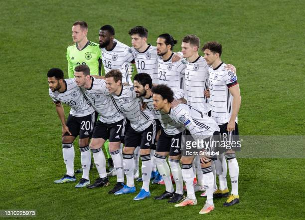 The team of Germany pose priorr to the FIFA World Cup 2022 Qatar qualifying match between Germany and North Macedonia on March 31, 2021 in Duisburg,...