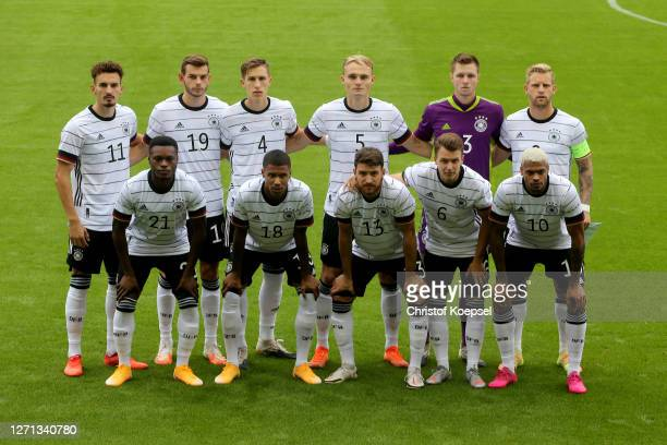 The team of Germany poses for a team picture prior to the UEFA Euro Under 21 Qualifier match between Belgium U21 and Germany U21 at Den Dreef on...