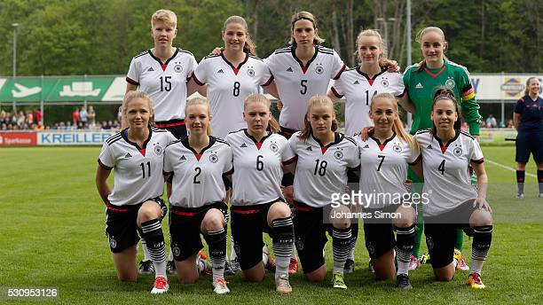 The team of Germany poses prior to the U16 girl's international friendly between U16 girl's Germany and U16 girl's Austria at...