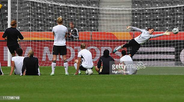 The team of Germany practices penalty shoot outs Germany Women national team training session at Olympic stadium on June 25 2011 in Berlin Germany